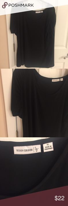 3793c52d431a Susan Graver Black Short Sleeve Top new -Xl New black top shirt sleeves in  new condition size xl Susan Graver Tops