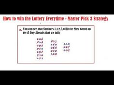 How to win the Lottery Everytime - Master Pick 3 Strategy - (More info on: https://1-W-W.COM/lottery/how-to-win-the-lottery-everytime-master-pick-3-strategy/)
