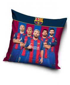 FC Barcelona Stars(Neymar, Suarez, Messi, Iniesta and Pique) Filled Cushion -- Details can be found by clicking on the image. (This is an affiliate link and I receive a commission for the sales) Football Bedding, Football Bedroom, Slumber Parties, Sleepover, Ready Bed, Bedroom Themes, Bedrooms, Bedroom Accessories, Liverpool Fc