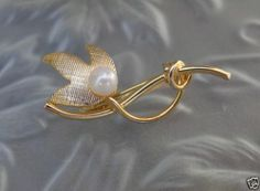 Vtg Antique Ekelund 12K Gold GF Genuine Pearl Flower Lapel Collar Pin Jewelry | eBay