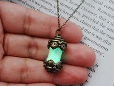 Handcrafted Glow In The Dark Vial Necklace by www.Trapsteam.com