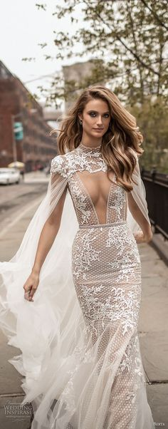 Berta Spring 2018 Wedding Dresses — Campaign Photos berta spring 2018 bridal thin strap deep plunging v neck full embellishment elegant sexy fit and flare wedding dress cape open back chapel train mv — Berta Spring 2018 Wedding Dresses Bridal Dresses, Wedding Gowns, Lace Wedding, Backless Wedding, Wedding Beach, Spring Wedding, Wedding Ceremony, Wedding Venues, Kleidung Design