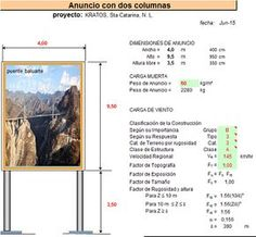 Libro excel que nos ayudará con el cálculo estructural de un anuncio elevado sostenido por dos columnas.