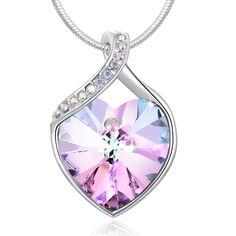 """PLATO H Swarovski Elements """"per sempre ama"""" Collana con pendente viola a forma di cuore per le donne Wedding Gifts Jewellry: Amazon.it: Gioielli"""