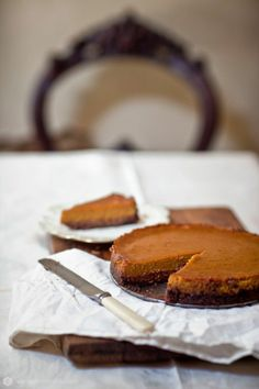 Spiced pumpkin tart with roasted pistachio and chocolate crust.