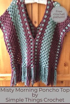 Simple crochet poncho pattern easy crochet poncho top granny stitch poncho easy women s sweater pattern misty morning poncho topI made this poncho top with Lion Brand Jeans yarn which is one of my very favorite yarns, and I used a granny stitch so it Crochet Bolero, Poncho Au Crochet, Crochet Poncho Patterns, Crochet Blouse, Easy Crochet, Crochet Lace, Free Crochet, Knitting Patterns, Sewing Patterns