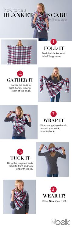 Master the blanket scarf is 5 easy steps! First, fold it in half. Next, gather the ends in both hands, leaving room at the ends. Then wrap it around your neck from front to back before tucking the wrapped ends (back to front) under the loop. And voila! You're all set to keep snug and stylish, all winter long. Shop blanket scarfs in-store or at belk.com.