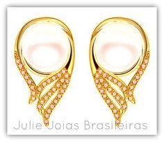 Brincos em ouro 750/18k, turmalina e pérola (750/18k gold stud earrings with tourmaline and pearl)