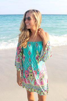 Bora Bora Off The Shoulder Quarter Sleeve Printed Jade Dress – Amazing Lace