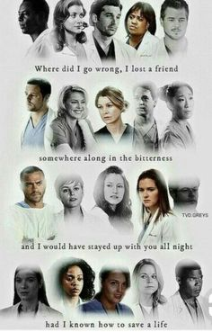 Grey's Anatomy all the people and only few left Greys Anatomy Shirts, Greys Anatomy Characters, Greys Anatomy Memes, Grey Anatomy Quotes, Grey Quotes, Tv Quotes, Funny Quotes, Ncis, Grey's Anatomy Wallpaper