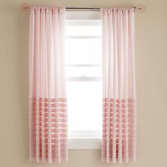 Kids' Curtains: Kids Light Pink Multi Ruffle Curtain Panels in Curtains