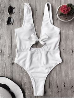 Bowknot Textured High Cut One Piece Swimsuit - WHITE S