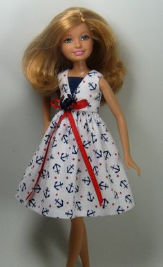 Reserved Custom Listing for Customer 1014 - 1 of 2 - Stacie Doll Clothes  -  Nautical Print Dress for Barbie's Little Sister, Stacie - 169