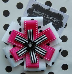 Hairbow - Pink, Black and White Triple Layer Large Flower Hairbow - Bow - Toddler Hair Bow