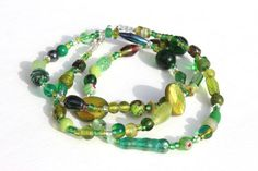 Green Glass Bead Necklace Handmade by LaurasCozyCottage on Etsy, $16.00