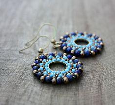 Turquoise and Lapis Lazuli Beaded Hoop Dangle by lamaisondefloria