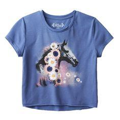 Mudd Girls Horse High-Low Crop Top Tee Shirt Blue Short Sleeve #Mudd #Everyday