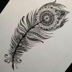 result for mandala feather tattoo Mandala Tattoo Design, Dotwork Tattoo Mandala, Tatoo Henna, Tatoo Art, Body Art Tattoos, Sleeve Tattoos, Cool Tattoos, Tatoos, Spine Tattoos