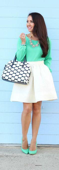 Green & White -   Stylish Petite