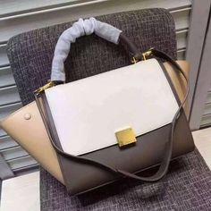 7ba7728ed7e7 Cheap 2016 Celine Bags Outlet-Celine 26cm Trapeze Top Handle Bag in  Multi-color Calfskin Leather C0412-WMT
