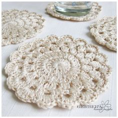 Granny Square Crochet Coasters/Doilies of by GerberaHandmade, $18.99