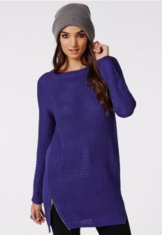 1aade525b8 Briony Zip Detail Knitted Tunic Blue - Knitwear - Missguided Womens Fashion  Online