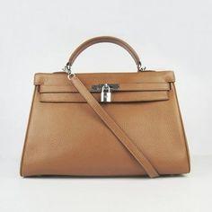 Hermes Kelly 35CM Sac à main en cuir du Togo Meilleur Silver Light Café-hermes borse丨replica hermes kelly handbags