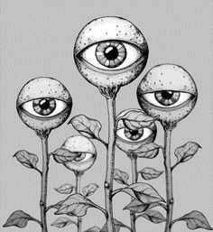 OMG! I draw eyeball flowers all the time ... It is my signature doodle. This one is fantastic