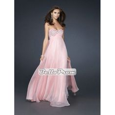 A-line Strapless Sweetheart Neckline with Beaded Bust Open Back Floor Length Chiffon Prom Dress PD34981 at belloprom.com