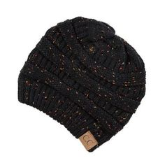 Black Knit Confetti Beanie, Hats for Winter, toboggan, Women's Hats, Boutique Clothing Ponytail Beanie, Knit Beanie Hat, Beanies, Wholesale Fashion, Black Knit, Hats For Women, Boutique Clothing, Cable Knit, Knitted Hats