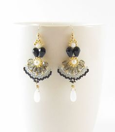 Long dangle earringsblack and whitewith goldboho by TamarKeny