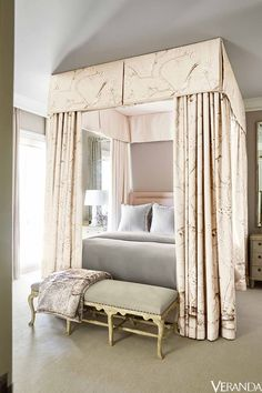 Schumacher Mary McDonald Chinois Palais fabric, in Blush Bedroom (Randall Powers) Blush Bedroom, Master Bedroom, Decorate My Room, French Country Bedrooms, Guest Bedrooms, Home Decor Bedroom, Design Bedroom, Bedroom Ideas, Bedroom Table