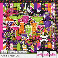 Ghoul's Night Out Kit - I love the colors in this kit. They smack of Halloween to me. Hot pink, neon green, neon orange, and neon purple.