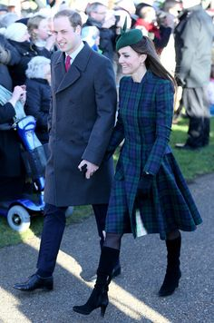 Prince William, Duke of Cambridge and Catherine, Duchess of Cambridge arrive for the Christmas Day service at Sandringham on December 25, 20...