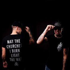 """Light The Way"" Silver Print Long Tee & ""Conspiring"" SnapBack Available at www.crmcclothing.co   WE SHIP WORLDWIDE Model - Brian Beest  Photography - Adrian Ian McNab #burningchurches #blasphemy #fire #satan #altfashion #alternative #fashionstatement #fashion #fashionista #fashion #fashionblog #burningchurch #lighttheway #blackmetal #churchburning #style #alternativeguy #alternativeboy #alternativegirl #alternativeteen #hoodie #longtee #longline #love #crmcclothing #CRMC #silver #snapback…"