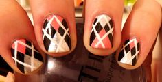 argyle manicure - nail art - nails - nailart how to - nail art tutorial Get Nails, Fancy Nails, How To Do Nails, Hair And Nails, Argyle Nails, Plaid Nails, Fall Manicure, Manicure And Pedicure, Pedicures