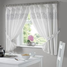 Add a lightweight stylish look to your kitchen window with the Urban Kitchen curtains in the silver tone.These Polyester drapes come in two widths to choose from and come with a choice of shorter drops.The Urban kitchen curtains come complete with tie Decor, Bedroom Curtains With Blinds, Kitchen Curtain Designs, Curtains, Curtains Living Room, Window Decor, Kitchen Curtains, Home Curtains, Home Decor Furniture