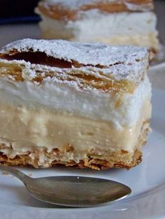 Polish Desserts, Polish Recipes, Polish Food, Custard Slice, First Communion Cakes, Vanilla Cake, Nutella, Delish, Food Porn