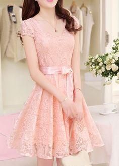 Sweet Short Sleeve Round Neck A Line Dress - Pink on Luulla