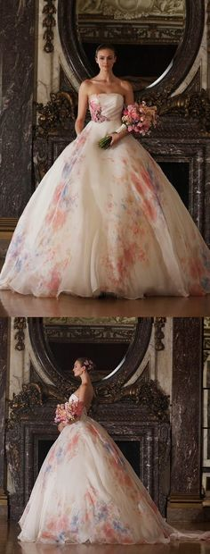 Romona Keveza watercolor wedding gown.