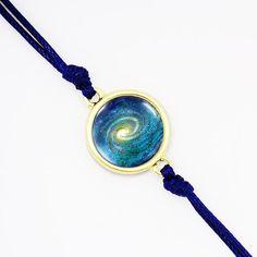 Galaxy Milky Way Nebula Bracelet, Blue Cord Galaxy Bracelet, Friendship Space Bracelet, Bezel Color- Silver, Bronze, Gold BGRA01R01K06B2