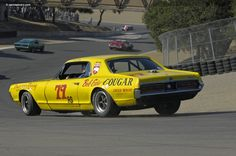 Photographs of the 1967 Mercury Cougar. Monterey Historic Races at Laguna Seca. An image gallery of the 1967 Mercury Cougar. Road Race Car, Race Cars, Sports Car Racing, Road Racing, Auto Racing, Mustang Cobra, Ford Mustang, Aussie Muscle Cars, Mercury Cars