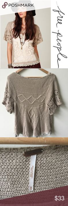 Free People   Crochet Lace and knit sweater   med Free People crochet, lace and knit Pullover/sweater. Great condition! Size medium Free People Sweaters