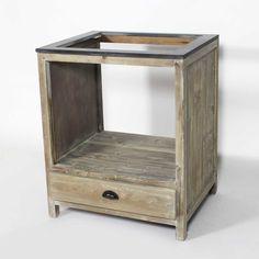 Meuble cuisine bois recyclé 70cm pour four et plaques - Made In Meubles
