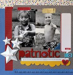 Nancy Damiano Patriotic Layout, Nancy does fantastic pages...always a pleasure to see what she  comes up with...