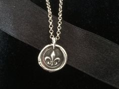 Fleur de Lis Wax Seal Necklace Oxidized Sterling by Ivanwerks Oxidized Silver, Sterling Silver Jewelry, Wax Seals, Rustic Chic, Rustic Christmas, Silver Charms, Washer Necklace, Objects, Romance