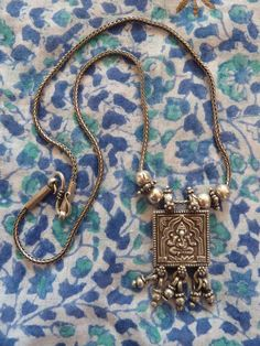 VIntage indian ethnic tribal Ganesh necklace silver India Rajasthan pendant mangalsutra. $100.00, via Etsy.