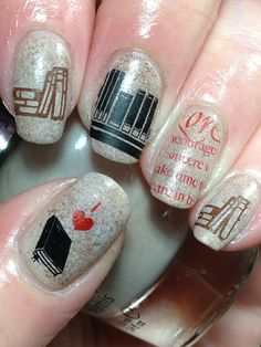 Today I present you a big nail art picture collection called 37 Cute Nail Art Designs with pictures of perfect manicure ideas by professional. Love Nails, How To Do Nails, Pretty Nails, Fun Nails, Dream Nails, Gradient Nails, Cute Nail Art Designs, Picture Polish, Book Nail Art