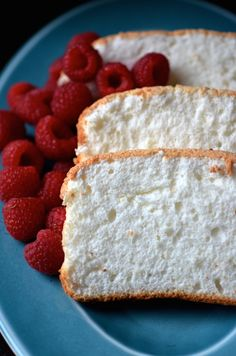 Recipe for light and fluffy Easy Vanilla Bean-Orange Angel Food Cake made in loaf pans.