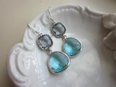 Silver Charcoal Gray Earrings